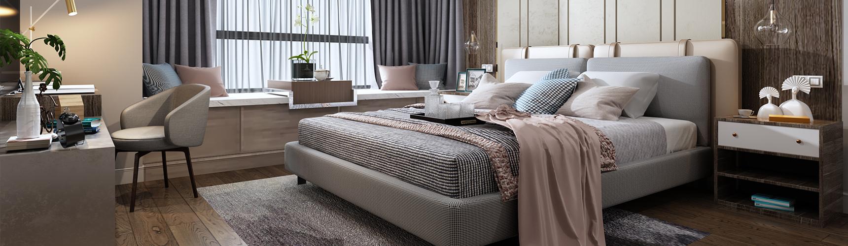新中式主卧室 双人床 吊灯 床头柜 电视柜 飘窗 书桌椅3D模型下载