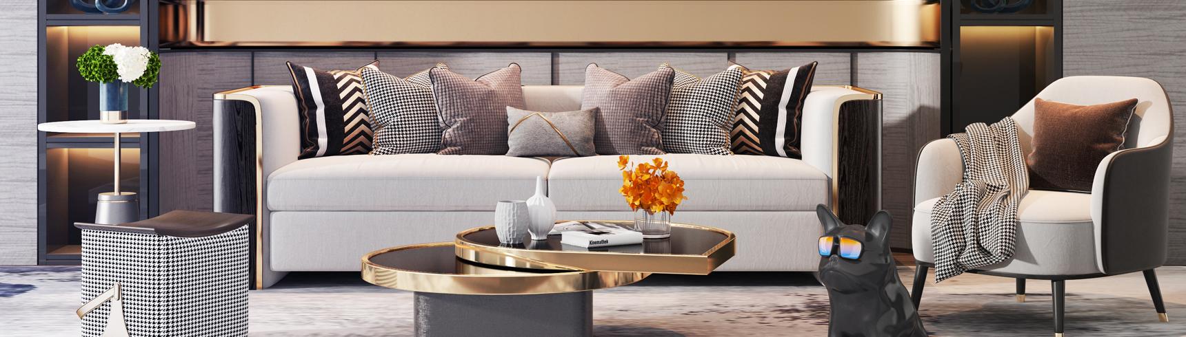 现代轻奢沙发椅子茶几组合3D模型下载