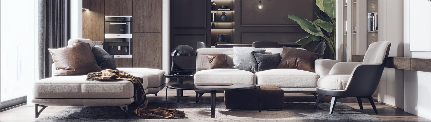 现代客厅 现代沙发 转角沙发 餐桌椅 吊灯 茶几 单椅 椅子3D模型下载