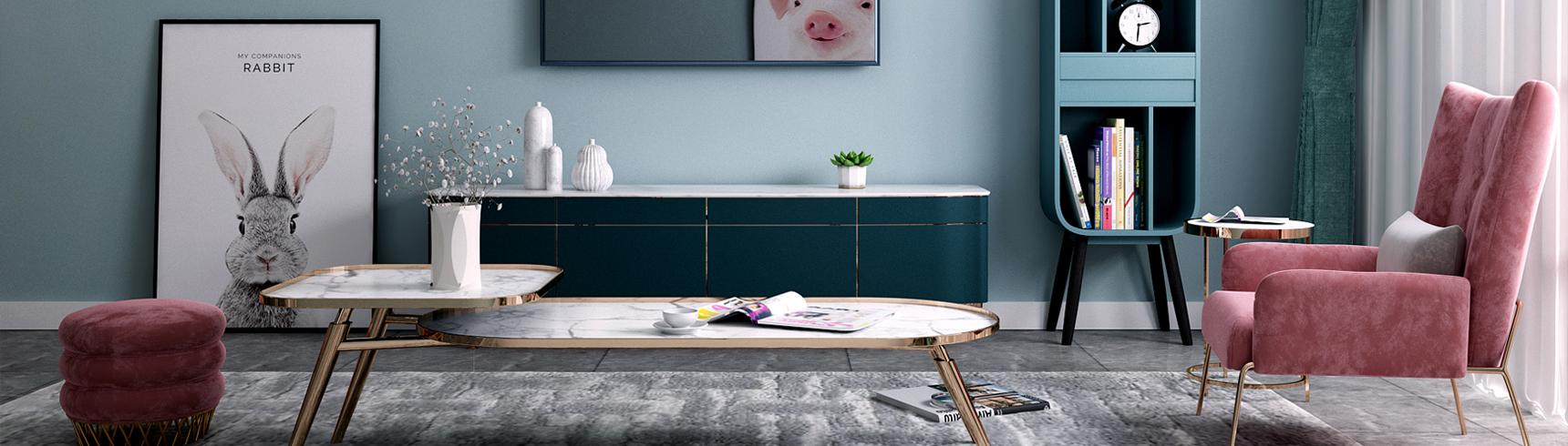 北欧小清新开通 吊灯 沙发茶几 挂画3D模型下载