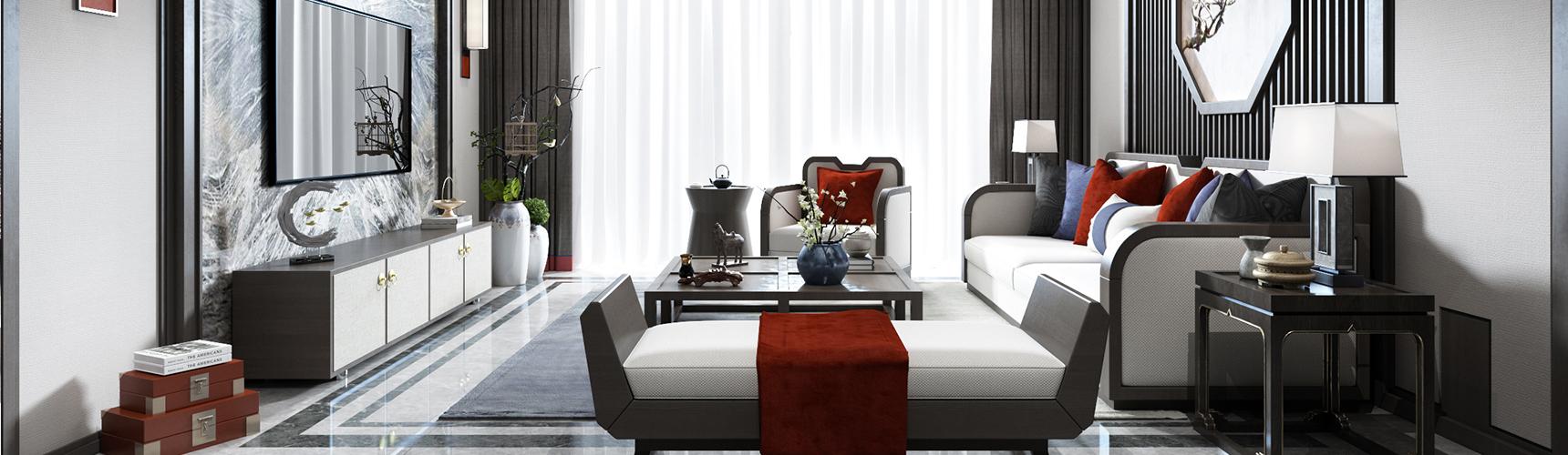 新中式客厅 沙发 吊灯 壁灯 台灯 茶几 地毯 窗帘 电视柜3D模型下载