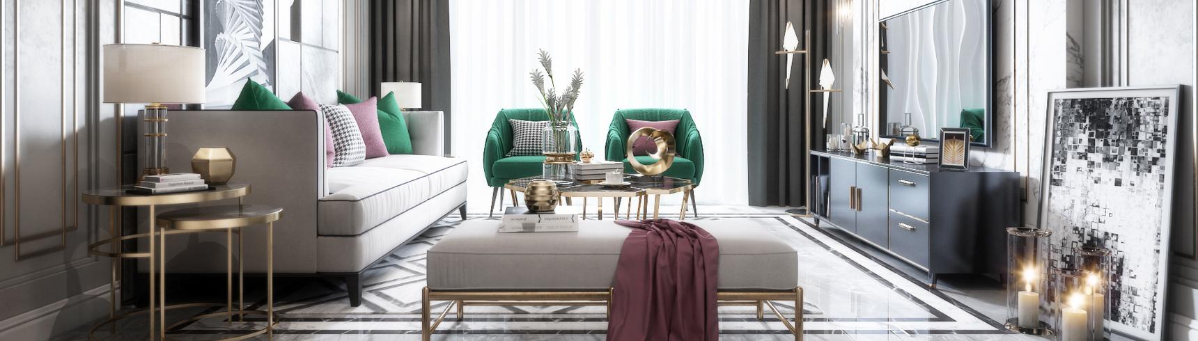后现代客厅 沙发 餐桌 吊灯 台灯 地毯 窗帘 装饰品 挂画 茶几3D模型下载