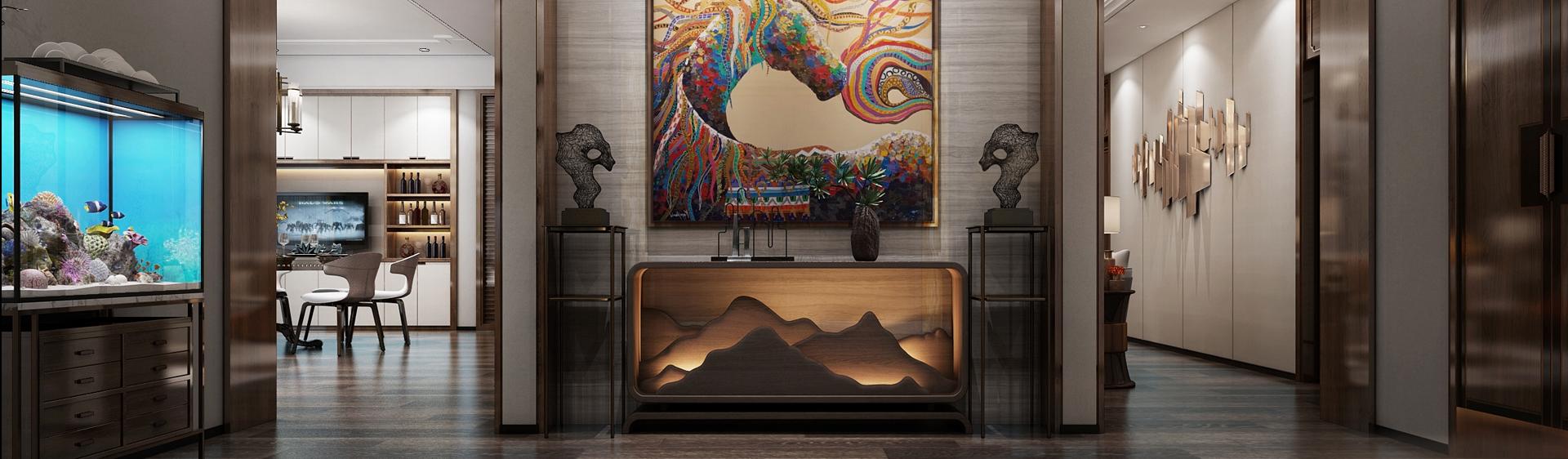 中式别墅门厅玄关 中式背景墙 中式装饰柜3D模型下载