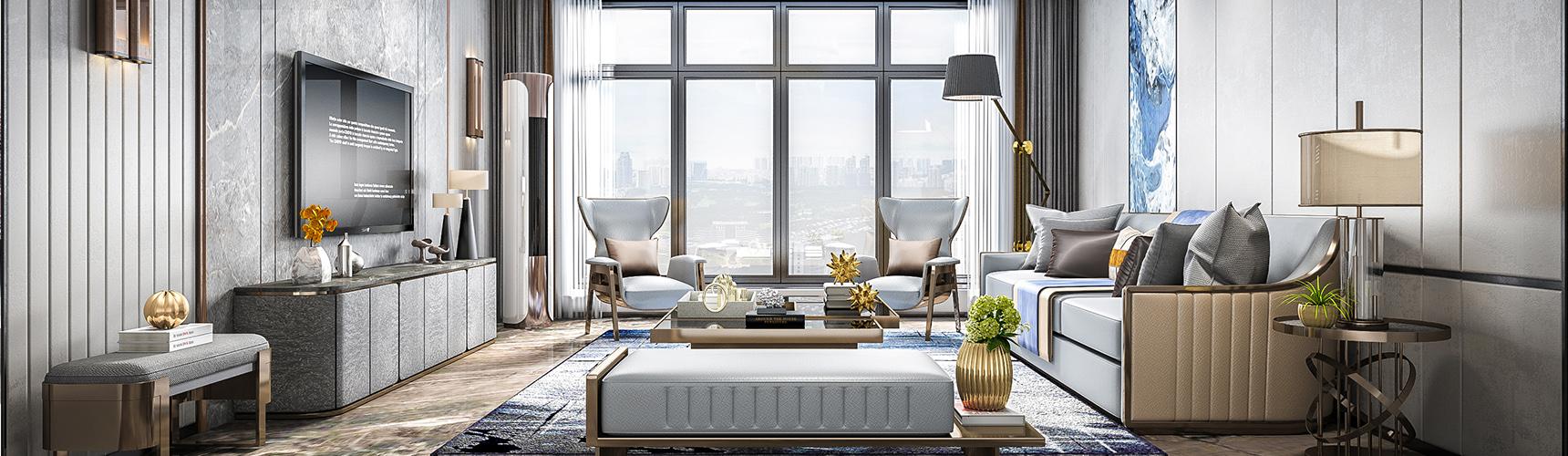 现代客厅3D模型 沙发茶几 电视柜 吊灯 台灯 壁灯 摆件 边几下载