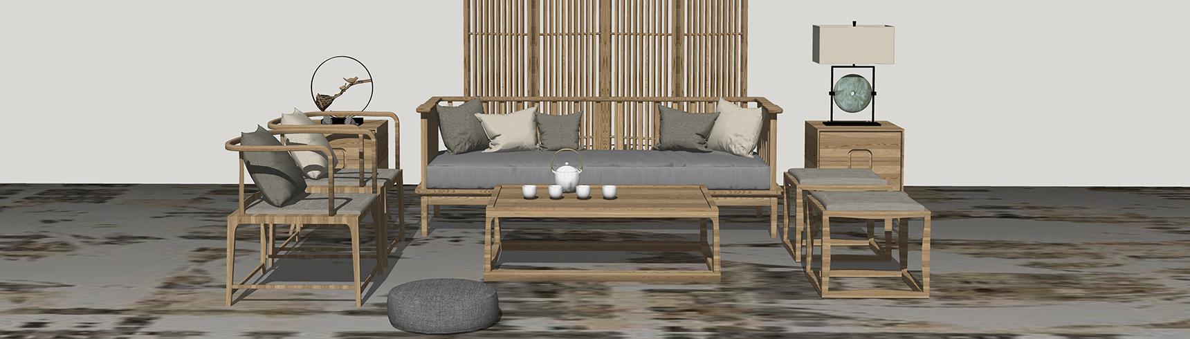 中式客厅沙发茶几屏风隔断组合SU模型下载