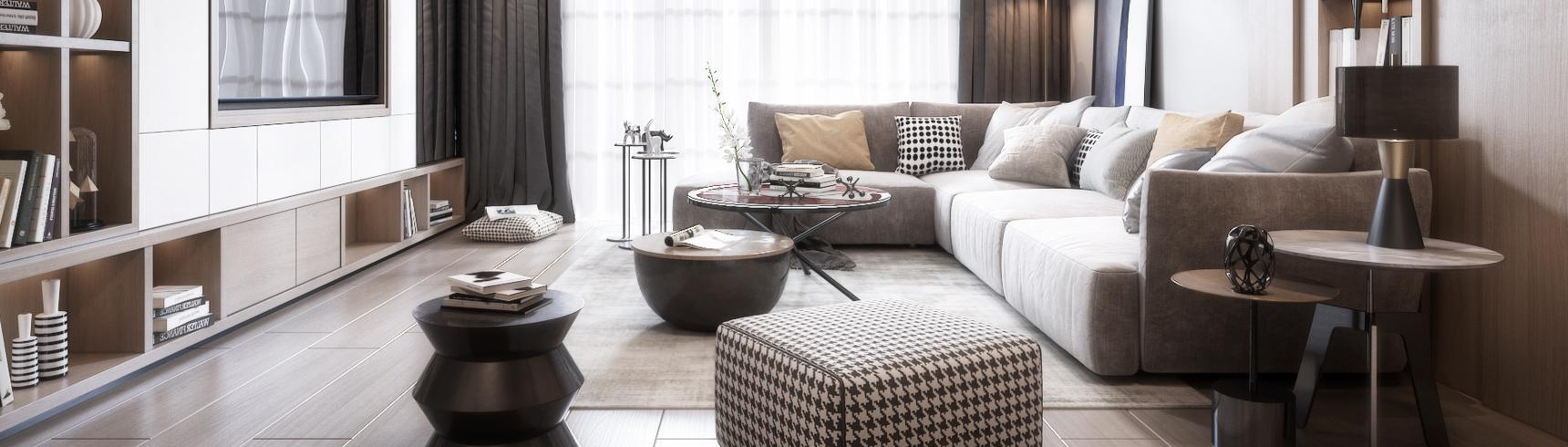 现代客厅 沙发 吊灯 台灯 窗帘 茶几 挂画 装饰品3D模型下载