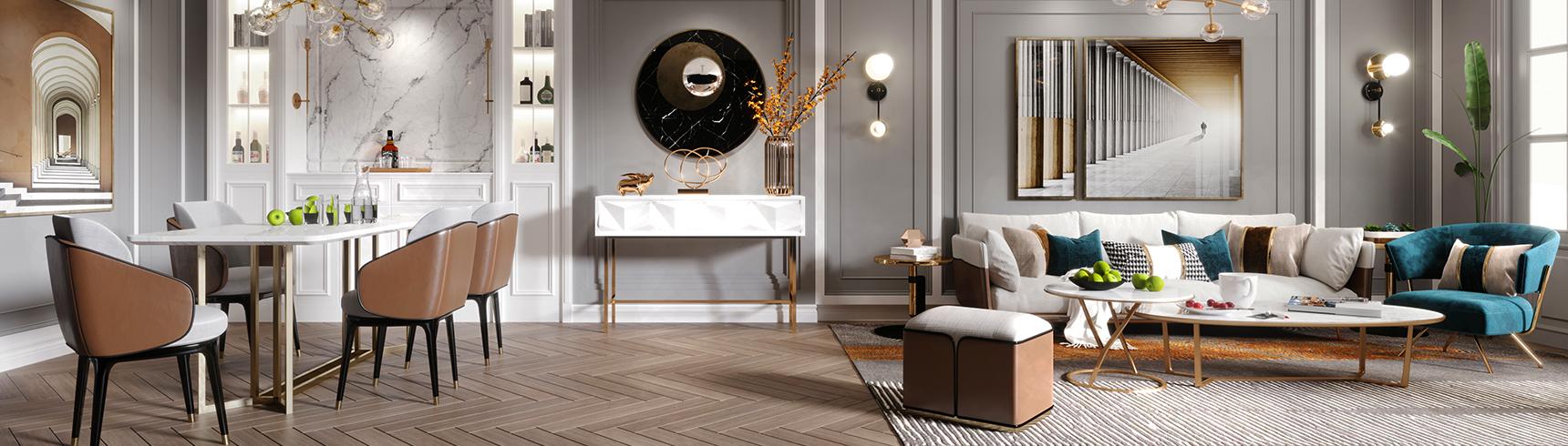现代轻奢客厅 现代沙发茶几组合 现代餐桌椅组合3D模型下载