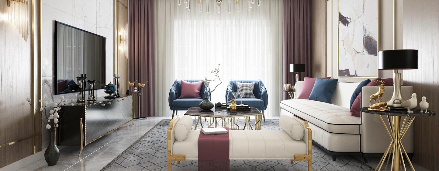现代 客厅 餐厅 沙发 茶几 吊灯 餐桌 电视柜 地毯 窗帘3D模型下载