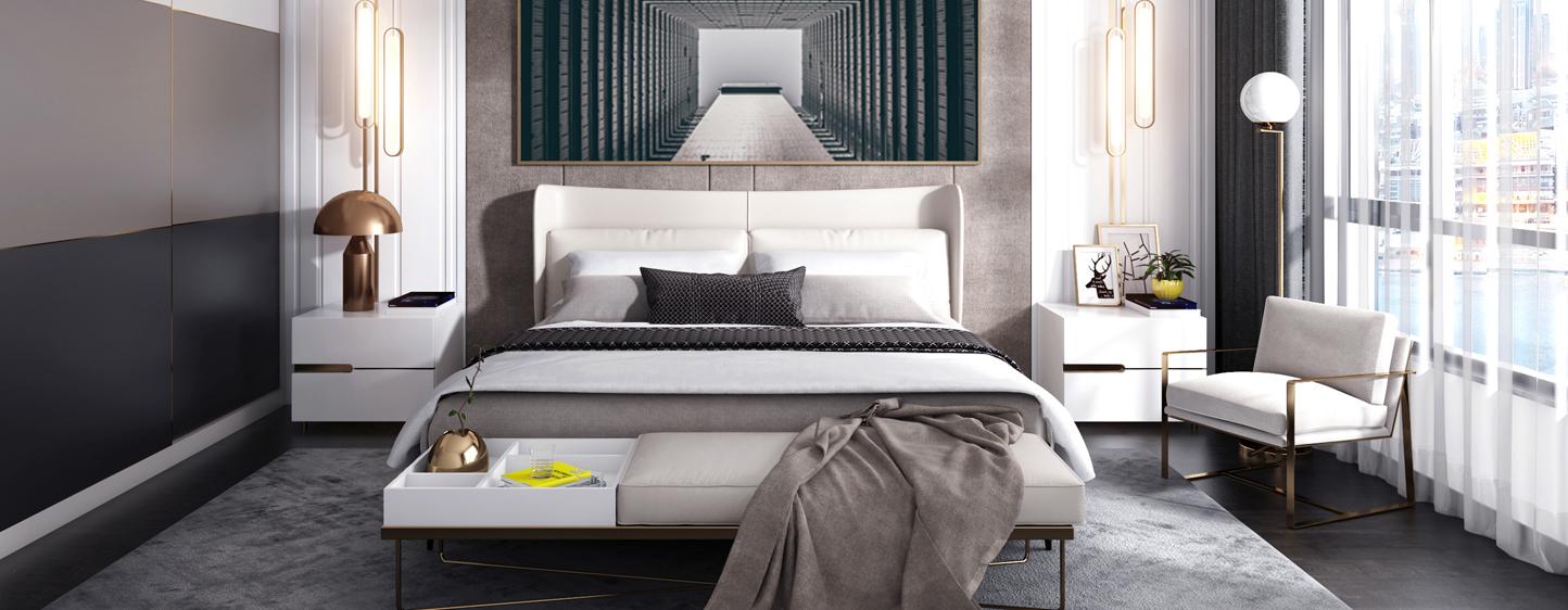 现代主卧 现代衣柜 现代床品组合 床榻3D模型下载