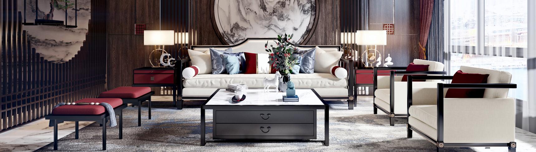 新中式客餐厅餐桌椅组合背景墙沙发茶几组合3D模型下载