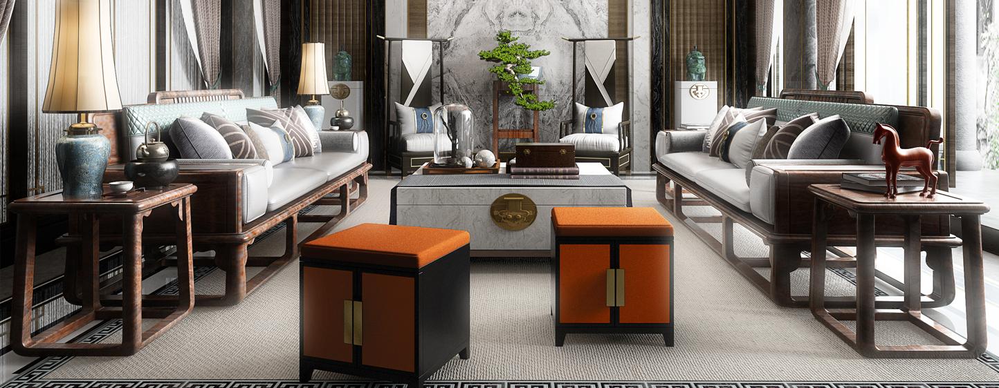 中式豪华别墅客厅3D模型下载