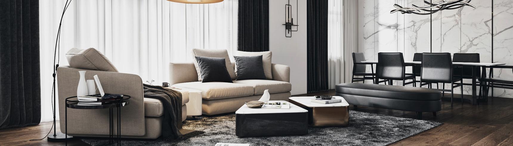 现代客厅 现代沙发 落地灯 餐桌 餐椅 椅子 凳子 踏 茶几3D模型下载
