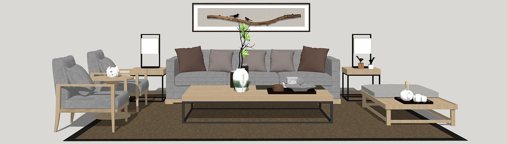 新中式客厅沙发茶几组合SU模型下载