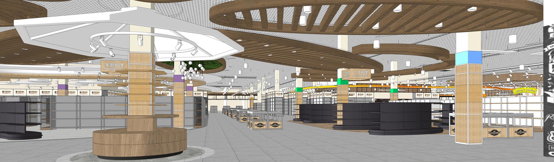 超市室内设计SU模型下载