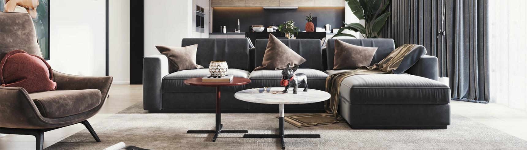现代客餐厅 沙发茶几 挂画 餐桌椅3D模型下载