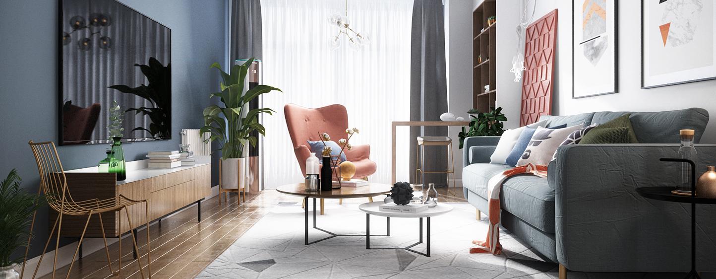 北欧 客厅 餐厅 沙发 茶几 餐桌椅 挂画 酒柜 配饰 椅子3D模型下载