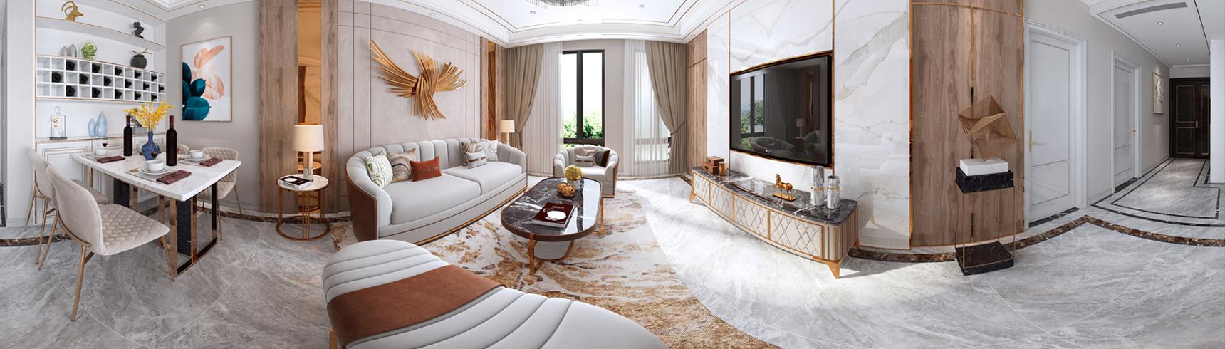 现代轻奢客厅 餐厅 轻奢客厅 沙发茶几3D模型下载