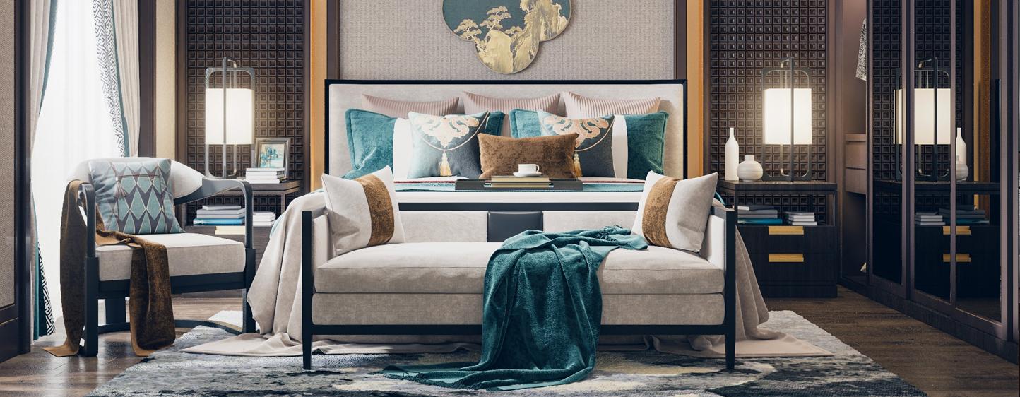 新中式卧室 双人床 床尾凳 椅子 挂件3D模型下载