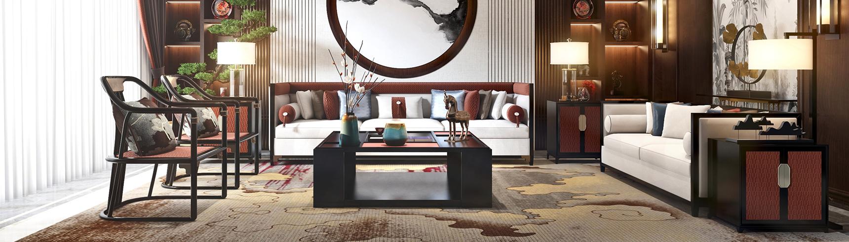 新中式客餐厅 沙发茶几组背景墙合3D模型下载