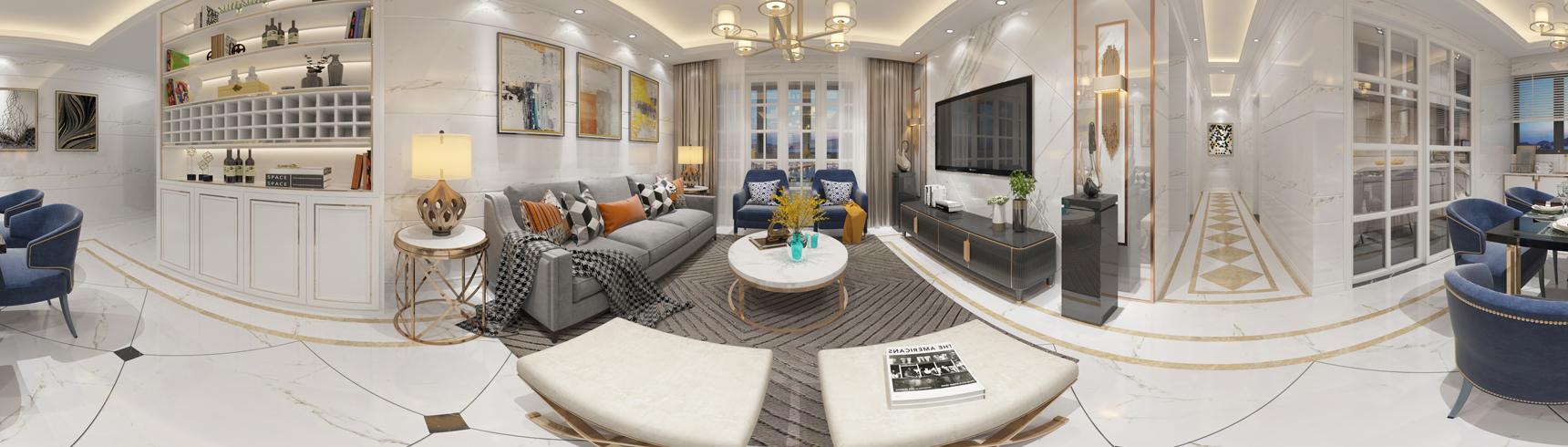 现代客餐厅全景 沙发 茶几 吊灯 挂画 电视柜 电视 摆件 餐桌椅3D模型下载