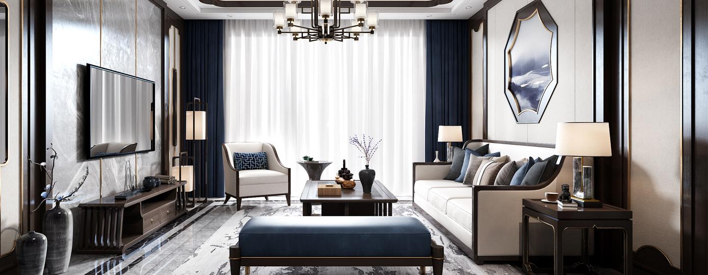 新中式客厅 沙发 茶几 吊灯 装饰品 窗帘 地毯 台灯 电视柜3D模型下载