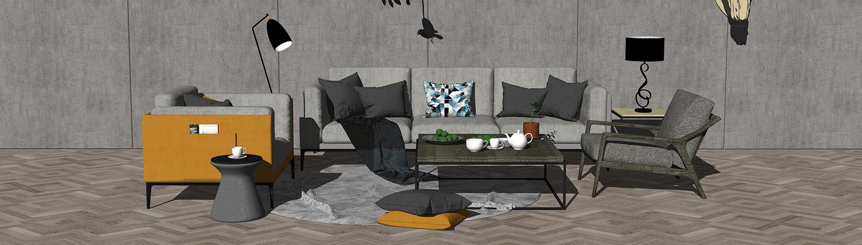 现代客厅沙发茶几组合SU模型下载