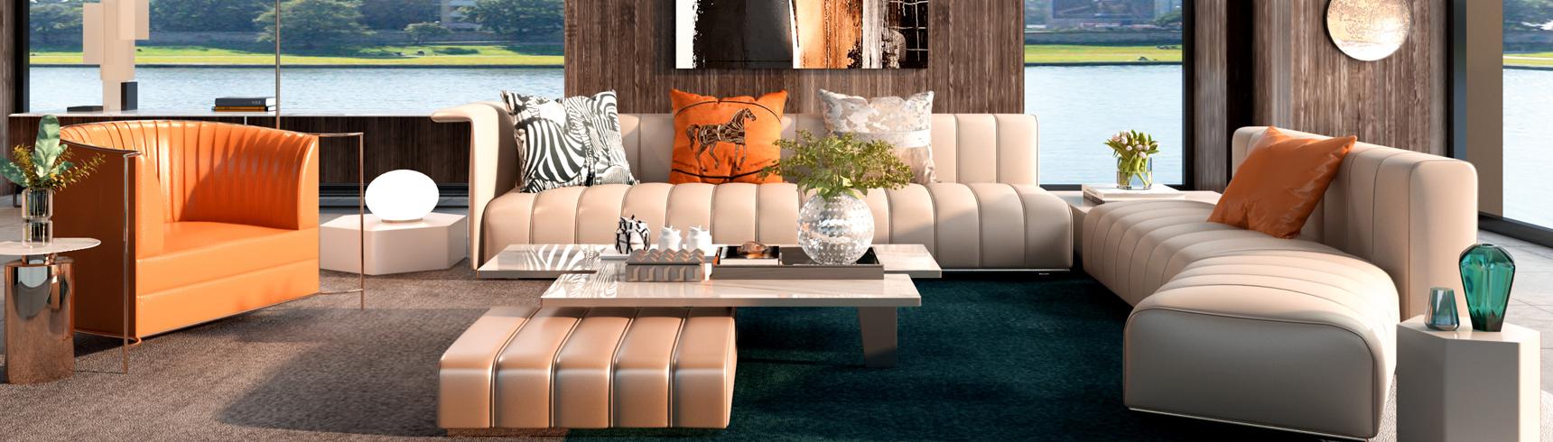 现代轻奢客厅 沙发 茶几 休闲椅 吊灯 落地灯 饰品摆件3D模型下载