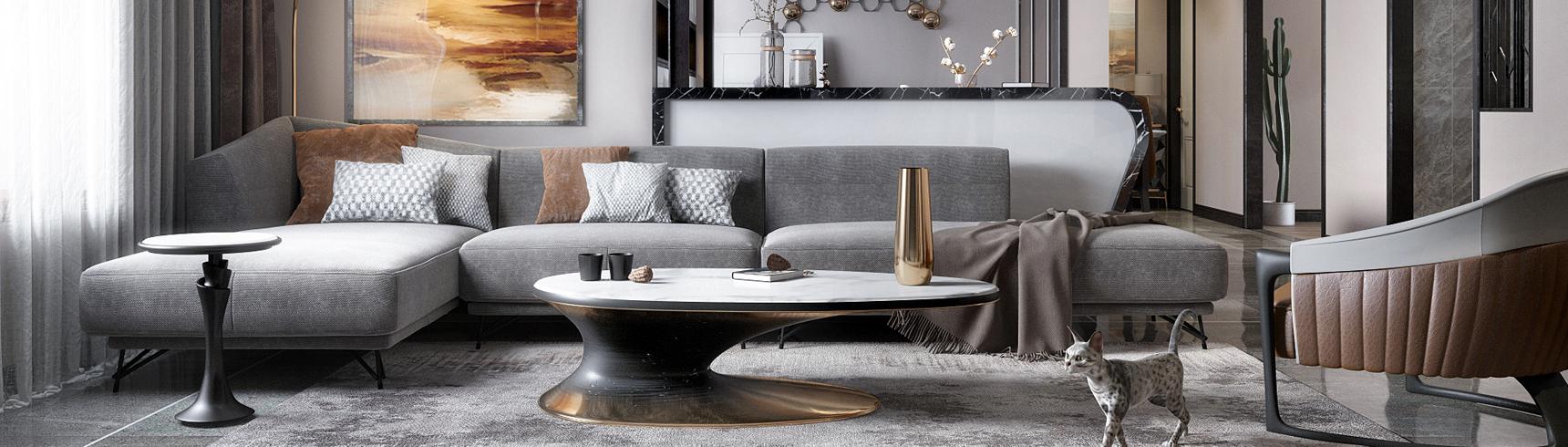 现代客厅餐厅 沙发组合 灯具 餐桌椅 挂画 茶几 装饰品 窗帘 边几 电视柜3D模型下载