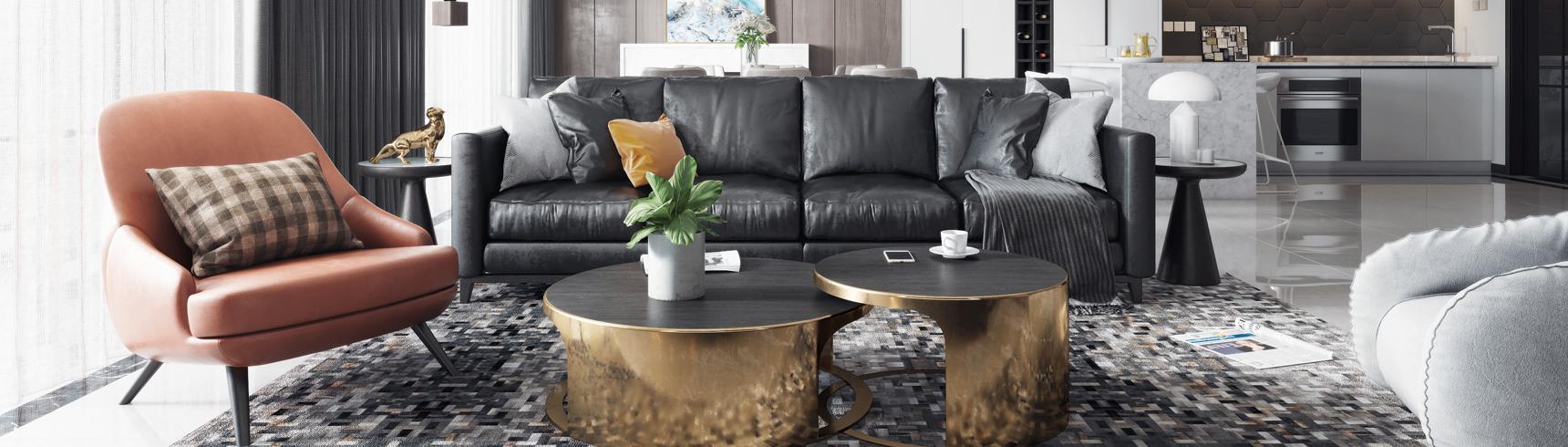现代客厅餐厅 沙发茶几 吊灯 挂画 餐桌椅3D模型下载