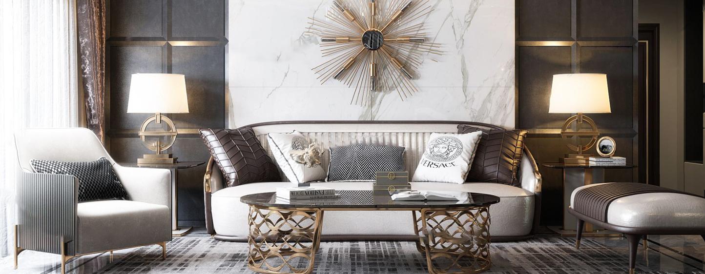 现代轻奢客厅 沙发茶几 吊灯 墙饰3D模型下载