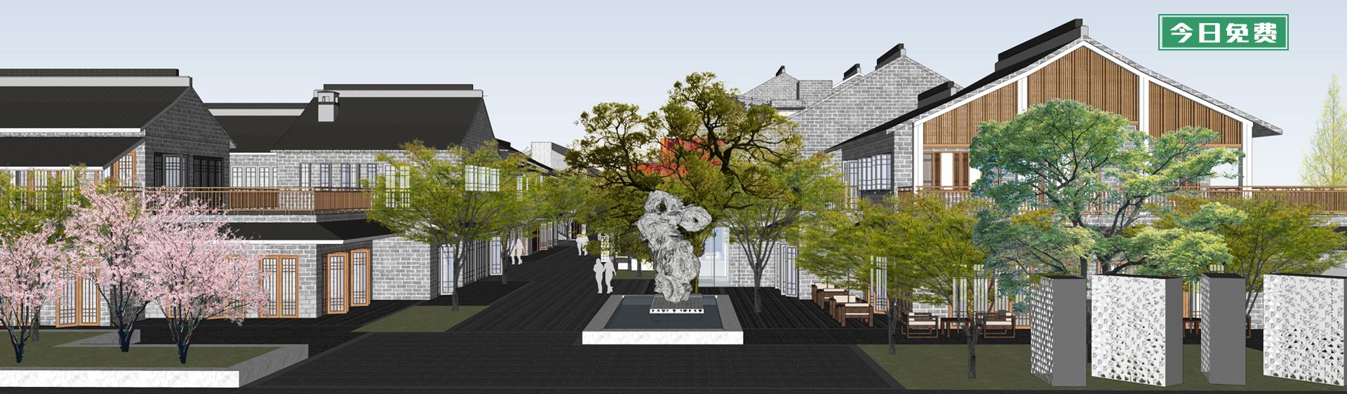 中式古建群落商业街SU模型下载