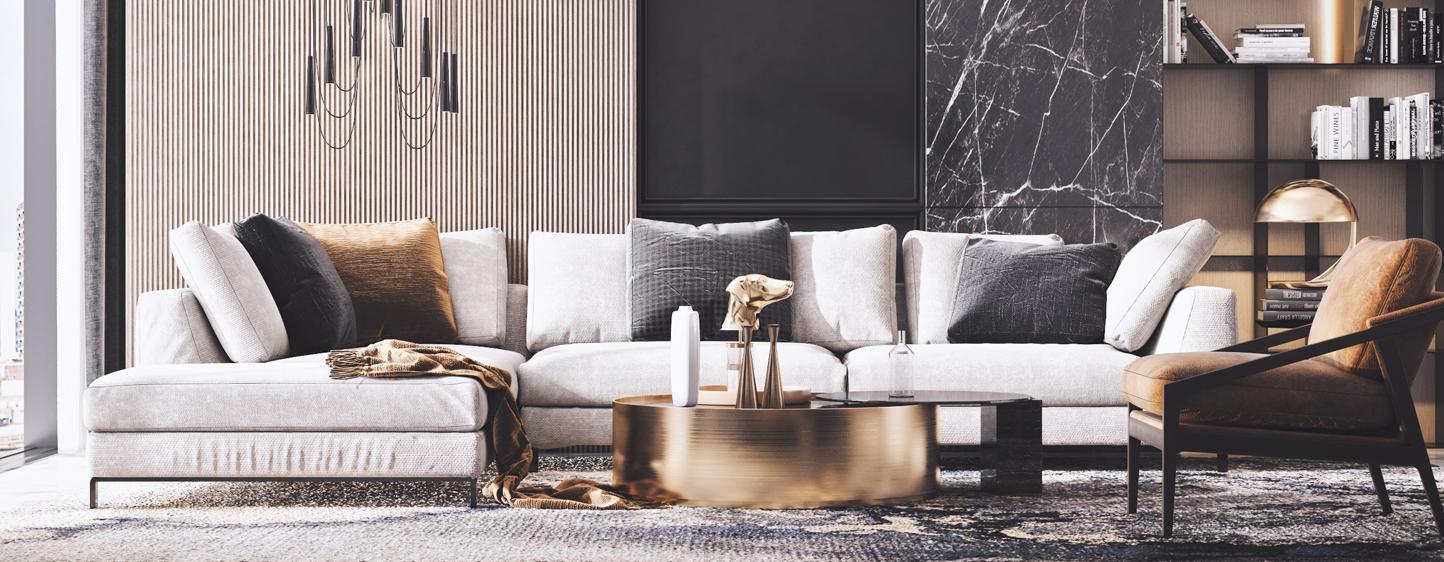 现代客厅 茶几 台灯 吊灯 单椅 椅子 转角沙发 地毯3D模型下载