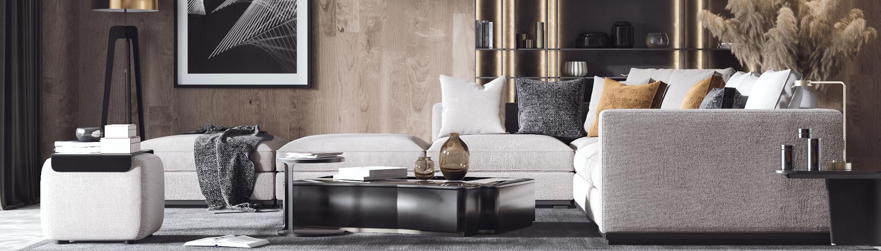 现代轻奢客厅3D模型下载