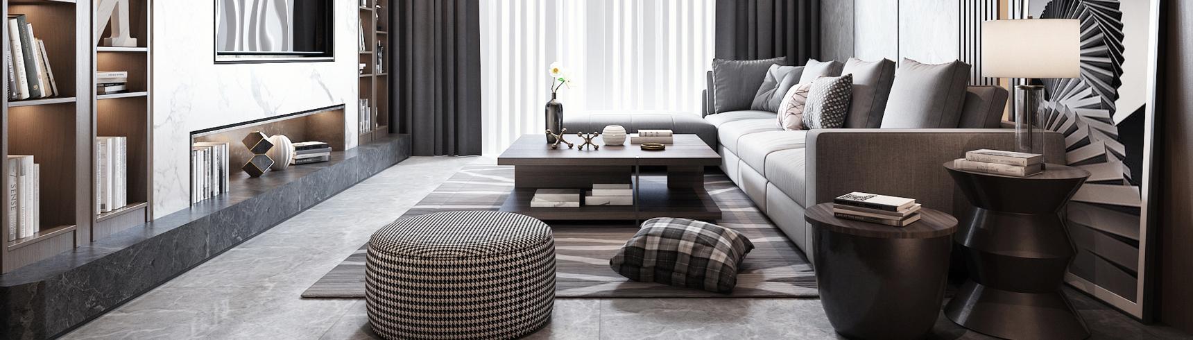 现代客厅 沙发 边柜 吊灯 抱枕3D模型下载
