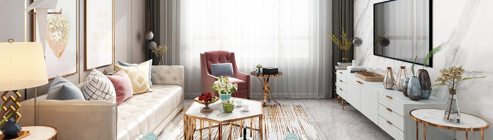 现代轻奢客餐厅 沙发茶几 吊灯 挂画 电视柜 餐桌椅3D模型下载