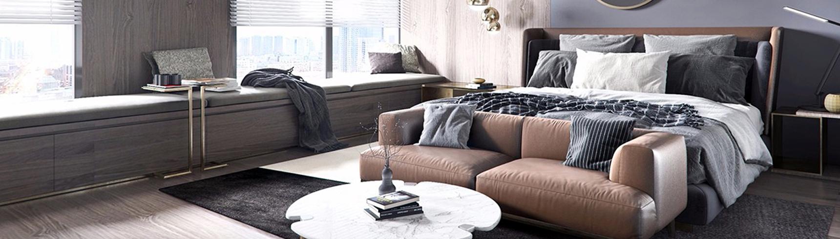 现代卧室 双人床 单人床3D模型下载