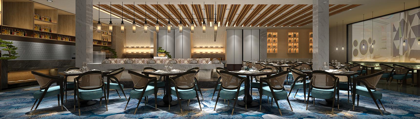 现代酒店餐厅 自助餐厅西餐厅3D模型下载