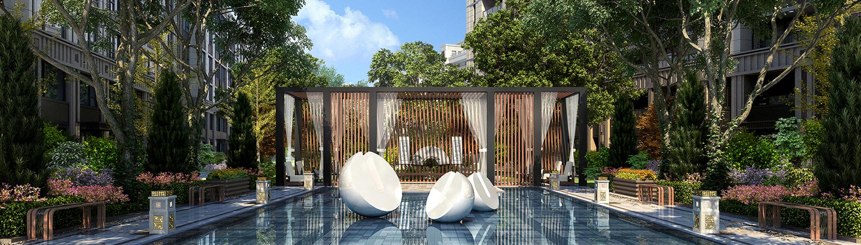 现代小区休闲广场3D模型下载