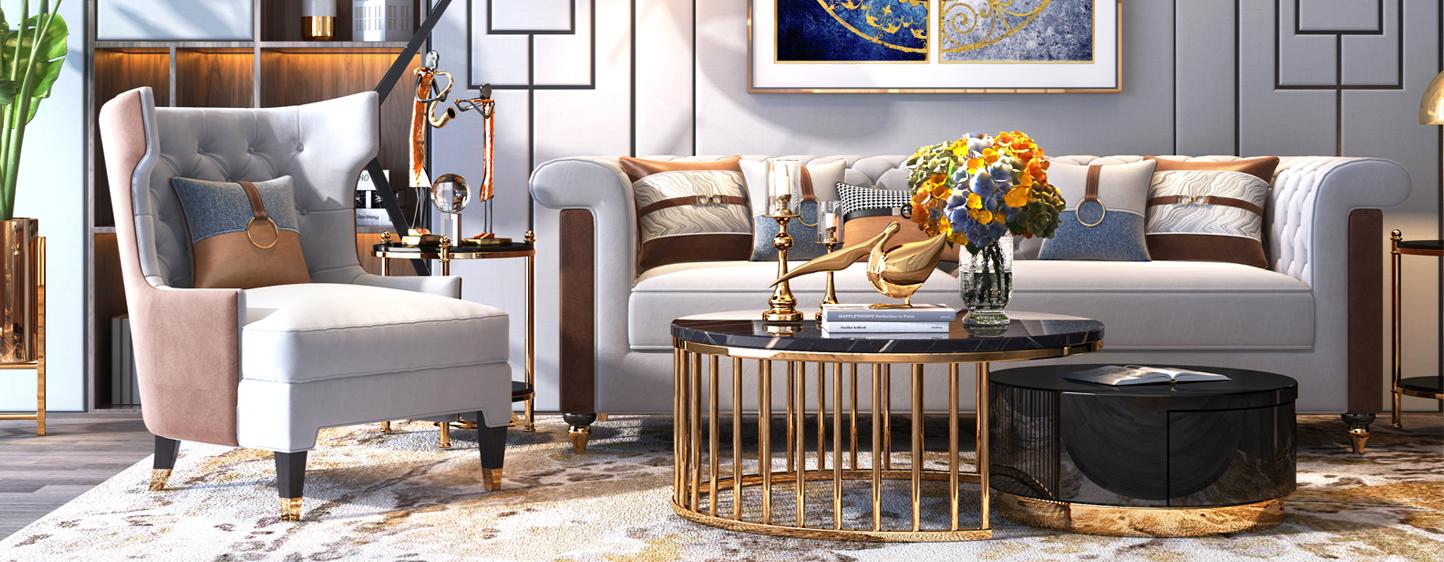 现代美式轻奢客厅沙发3D模型下载