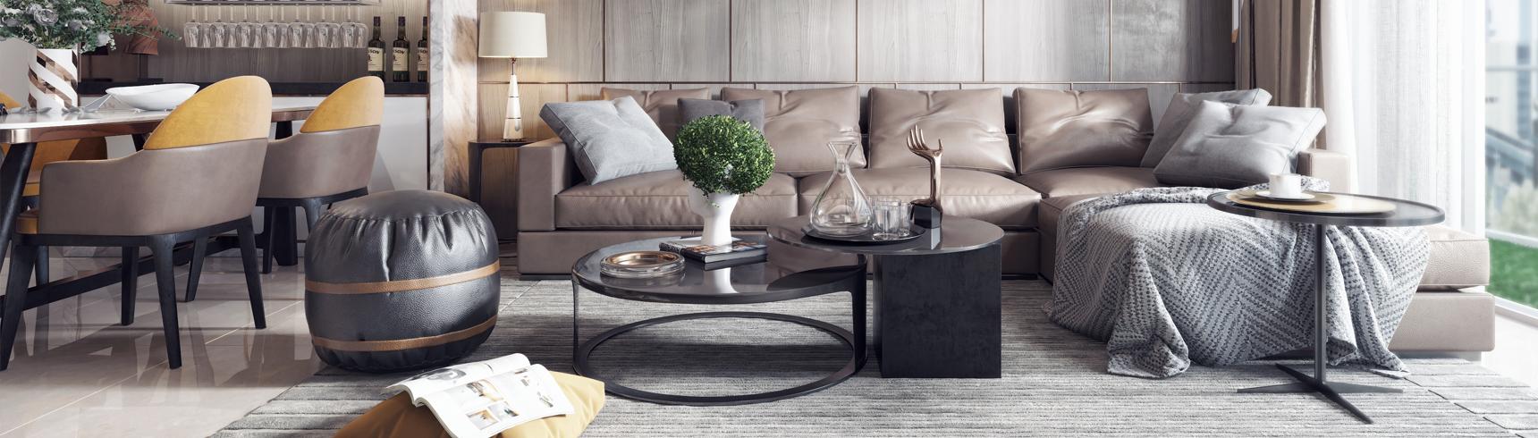 现代客厅 沙发茶几 电视柜 挂画 吊灯 餐桌椅3D模型下载