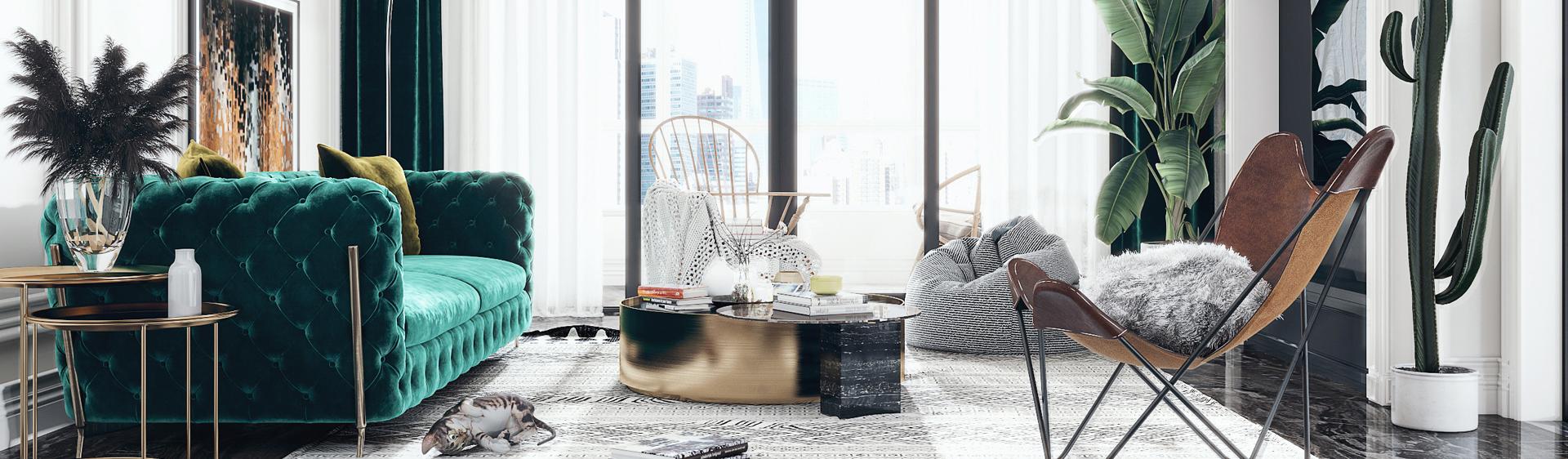 北欧客厅 现代客厅 沙发 单椅 地毯 茶几 绿植 盆栽 角几3D模型下载