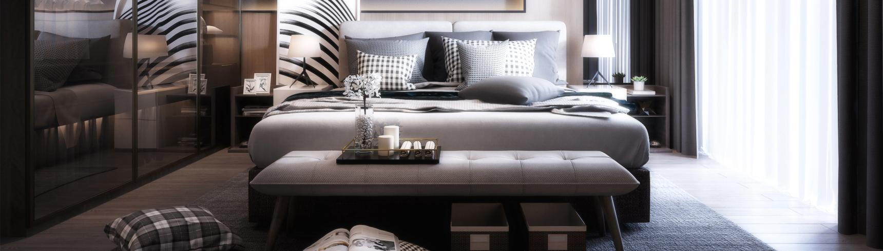 现代主人房 床具 吊灯 台灯 挂画 装饰品 地毯 床头柜 装饰品 窗帘3D模型下载