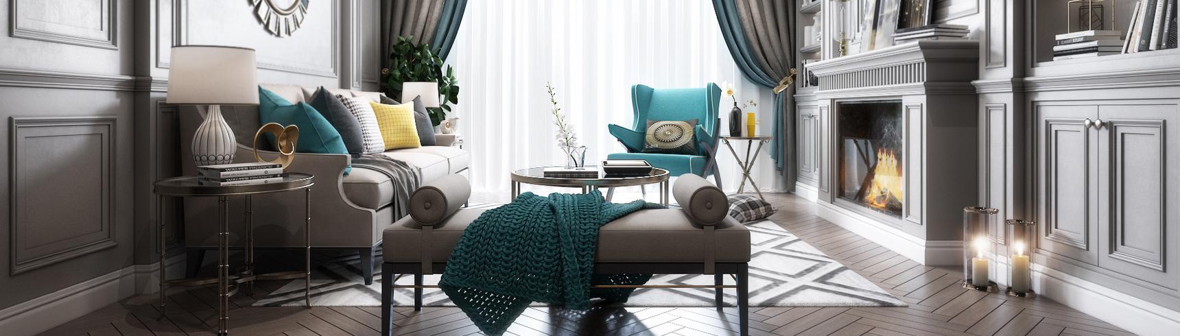 美式客厅 沙发 吊灯 台灯 壁炉 窗帘 装饰品 挂画3D模型下载